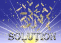 Metallic solution text. Royalty Free Stock Images