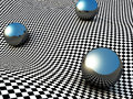 Metallic Spheres On Checker Su...