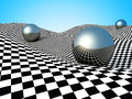 Metallic Spheres On Checker Surface. Abstract Background Royalty Free Stock Photo