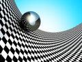 Metallic Spheres On Checker Su...