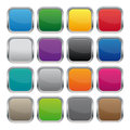 Metallic square buttons in various colors Royalty Free Stock Images