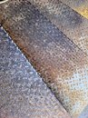 Metallic stair rusty metal metal flooring metal sheets background with rusty Stock Image