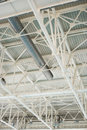 Metallic structure of industrial building roof Royalty Free Stock Photo