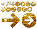 Metallic symbols various metallized gold graphic elaboration Royalty Free Stock Images
