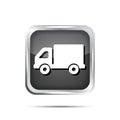Metallic truck icon button on a white background Stock Photos