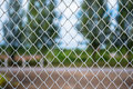 Metallic wire net chain link fence Stock Photo