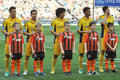 Metallist players stand with children during the match between shakhtar donetsk ukraine vs metalist kharkiv ukrainian premier Royalty Free Stock Photography