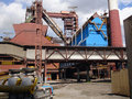 Metallurgical works with blast furnaces Royalty Free Stock Image