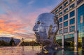 Metalmorphosis statue charlotte nc in the morning Royalty Free Stock Photography