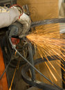 Metalworker with sparkles Stock Photography