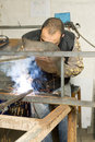 Metalworker with sparkles Stock Image