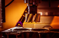 Metalworking cnc milling machine cutting metal modern processing technology Stock Photography