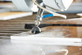 Metalworking cutting with water jet industry metal high pressure Royalty Free Stock Image