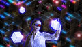 Metaphoric d illustration with a woman holding cube with glasses Stock Image