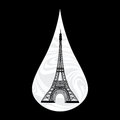 Metaphoric illustration of france crying tear mourning paris on the background with an eiffel tower vector Royalty Free Stock Photos