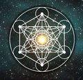 Metatron`s cube symbol, Flower of life, sacred geometry. Royalty Free Stock Photo