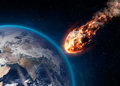 Meteor glowing as it enters the Earth's atmosphere Royalty Free Stock Photo