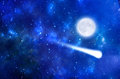 Meteor Shower And Moon