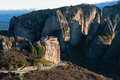 Meteora in greece cliffs and the holy monastery of roussanou st barbara founded the middle of th century ad Stock Photography