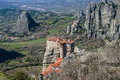 Meteora in greece cliffs and the holy monastery of roussanou st barbara founded the middle of th century ad Royalty Free Stock Images