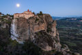 Meteora in greece cliffs and the holy monastery of st stephen founded the middle of th century ad under full moon Stock Photography