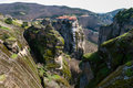Meteora in greece cliffs and the holy monastery of varlaam founded the middle of th century ad Stock Images