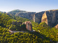 Meteora monastery in greece travel background Royalty Free Stock Photos