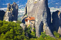 Meteora monastery in greece travel background Royalty Free Stock Photography