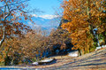 Meteora mountains in Greece. Winter mountains landscape. Sunshine autumn landscape with yellow trees. Nature background