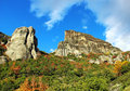 Meteora rocks greece view from kalambaka Royalty Free Stock Images