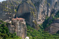 Meteora rocks and Monastery Stock Photography
