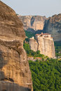 Meteora Rocks and Monastery Rousanou Royalty Free Stock Photo
