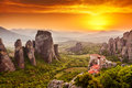 Meteora roussanou monastery at sunset greece photo taken in Stock Photo