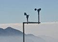 Meteorological station on the blue background Stock Images