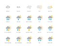 Meteorology colored icons on white background pictogram collection of weather and desktop clock fog hazy rain hail and sandstorm Stock Photography