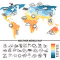 Meteorology design concept with sketch weather forecast symbols on world map vector illustration Royalty Free Stock Photography