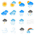 Meteorology icons set on a white background Royalty Free Stock Image