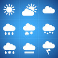Meteorology icons white on blue background Royalty Free Stock Image