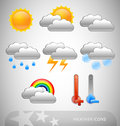 Meteorology symbols set of eight Royalty Free Stock Images