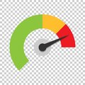 Meter dashboard icon in flat style. Credit score indicator level