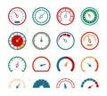 Meter set. Measuring instruments control fuel speedometer pressure barometer dial benchmark tachometer gauge speed icons