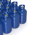 Methane gas cylinders closeup of a group of d render Stock Image