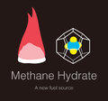 Methane Hydrate, combustible ice energy from sea, vector
