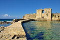 Methoni castle bridge to the gate in venetian fortress in the peloponnese messenia greece Stock Photos
