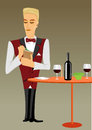 Meticulous punctual waiter taking order illustration of young and looking down Royalty Free Stock Photography