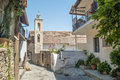 Metormorfosi tou sotira church view of the from the narrow cobbled streets in the old village of kakopetria in cyprus Stock Images