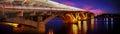 Metro bridge evening sunset dawn night dawn view background landmark ukrainian mіst the first across the dnieper river Royalty Free Stock Images