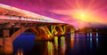 Metro bridge evening ukrainian mіst the first across the dnieper river in kiev beautiful slender outline design power Stock Photo