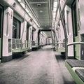 Metro car inside a green empty subway Stock Photos