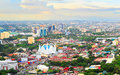 Metro cebu at sunset panorama of city is the philippines second most significant metropolitan centre and main domestic shipping Royalty Free Stock Image